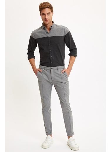 DeFacto Blok Desenli Uzun Kollu Modern Fit Gömlek Siyah